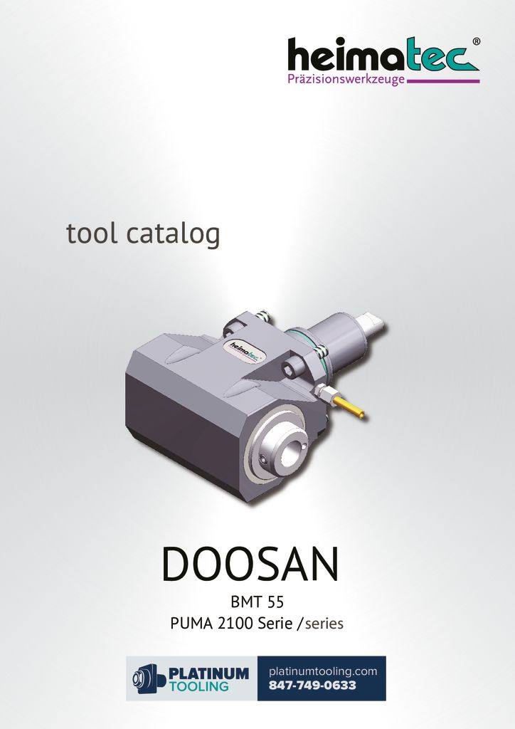 Doosan Puma 2100 BMT 55 Heimatec Catalog For Live and Static Tools
