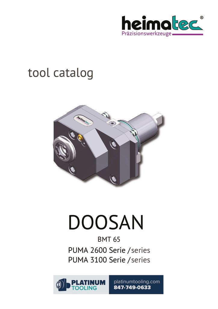 Doosan Puma 2600-3100 BMT 65 Heimatec Catalog For Live and Static Tools