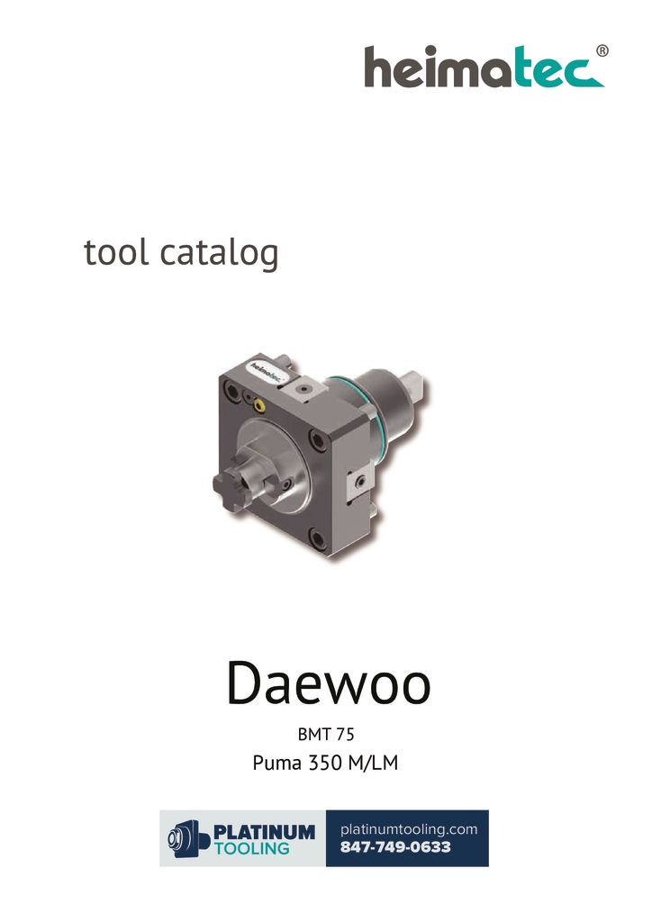 Daewoo Puma 350 M-LM BMT 75 Heimatec Catalog For Live and Static Tools
