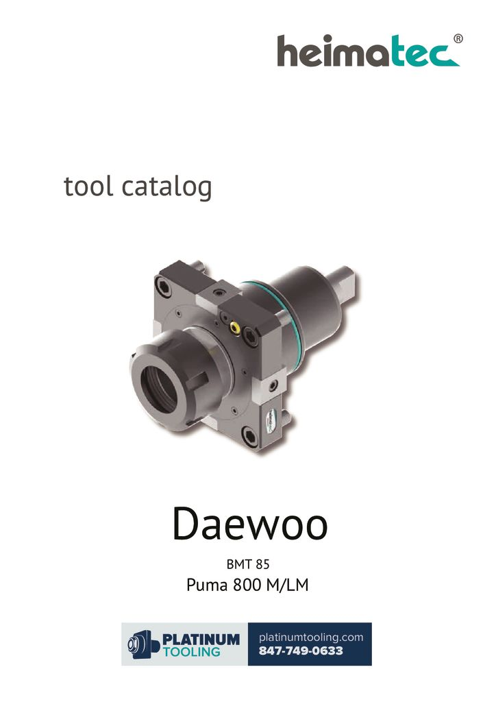 Daewoo Puma 800 M-LM BMT 85 Heimatec Catalog For Live and Static Tools