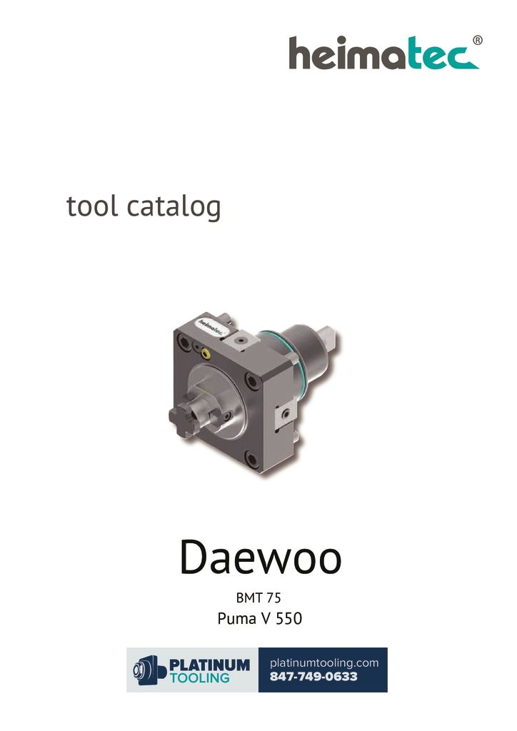 Daewoo Puma V 550 BMT 75 Heimatec Catalog For Live and Static Tools