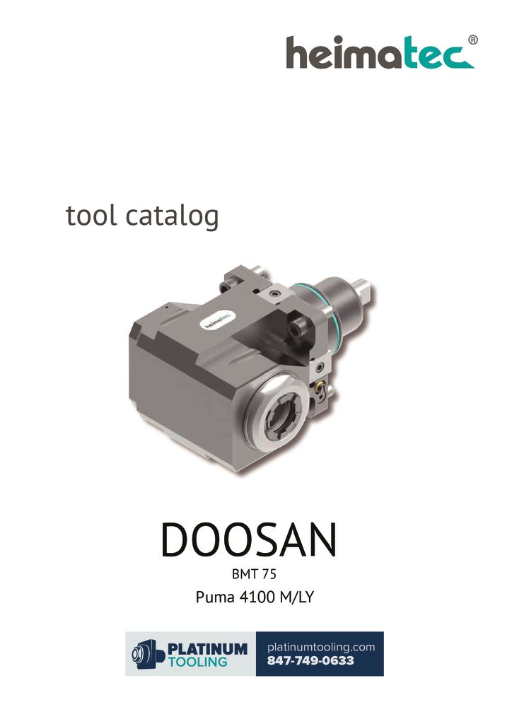 Doosan Puma 4100 M-LY BMT 75 Heimatec Catalog For Live and Static Tools