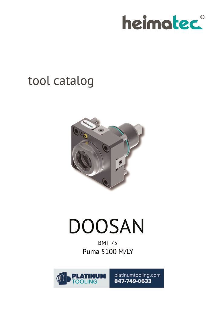 Doosan Puma 5100 M-LY BMT 75 Heimatec Catalog For Live and Static Tools