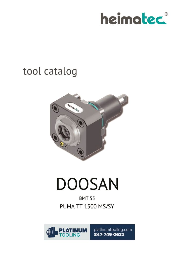 Doosan Puma TT 1500 MS-SY BMT 55 Heimatec Catalog For Live and Static Tooling