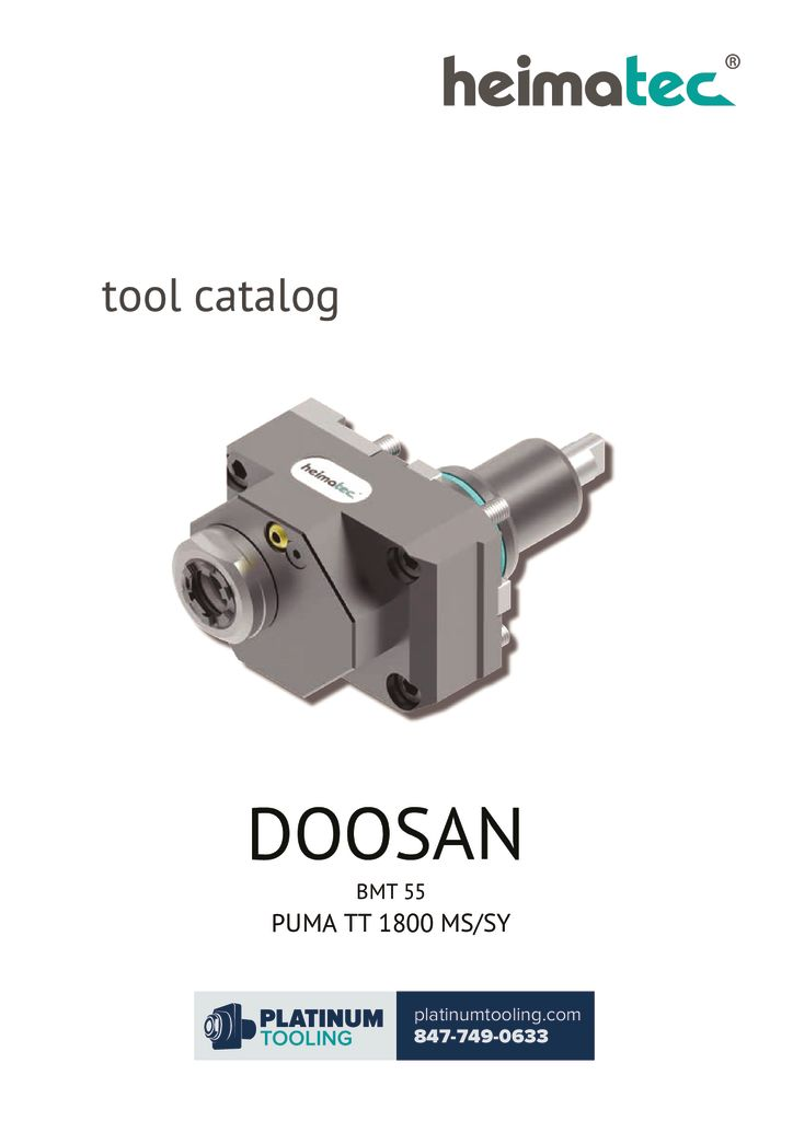 Doosan Puma TT 1800 MS-SY BMT 55 Heimatec Catalog For Live and Static Tooling