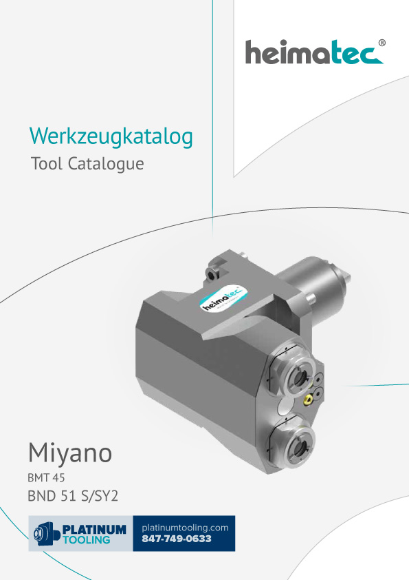 Miyano BND 51 S-SY2 BMT 45 Heimatec Catalog for Live and Static Tools
