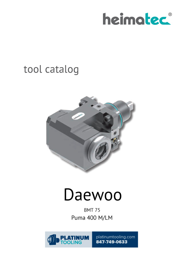 Daewoo Puma 400 M-LM BMT 75 Heimatec Catalog for Live and Static Tools