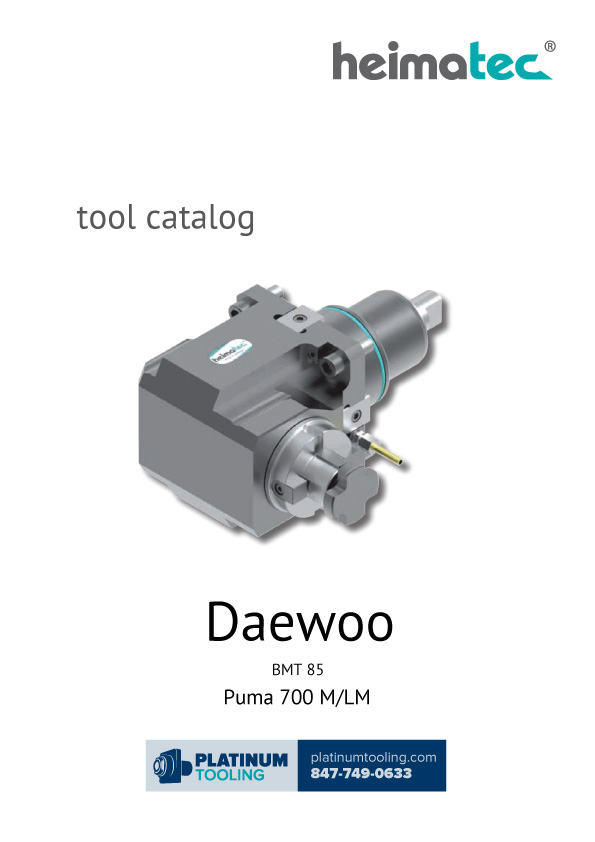 Daewoo Puma 700 M-LM BMT 85 Heimatec Catalog for Live and Static Tools