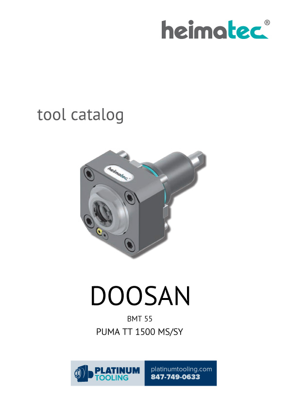 Doosan Puma TT 1500 MS-SY BMT 55 Heimatec Catalog for Live and Static Tools