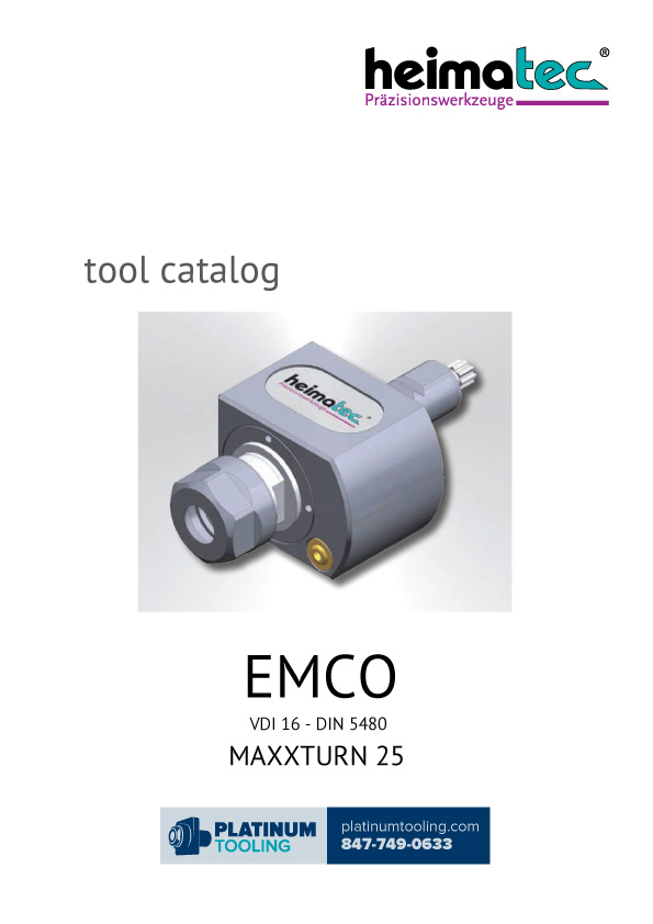 Emco MaxxTurn 25 VDI 16-DIN 5480 Heimatec Catalog for Live and Static Tools