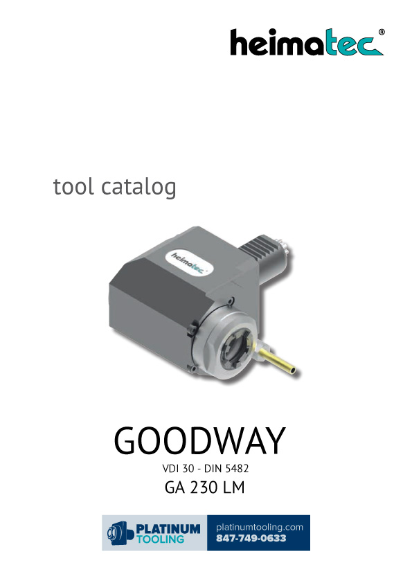 Goodway GA 230 LM VDI 30-DIN 5482 Heimatec Catalog for Live and Static Tools